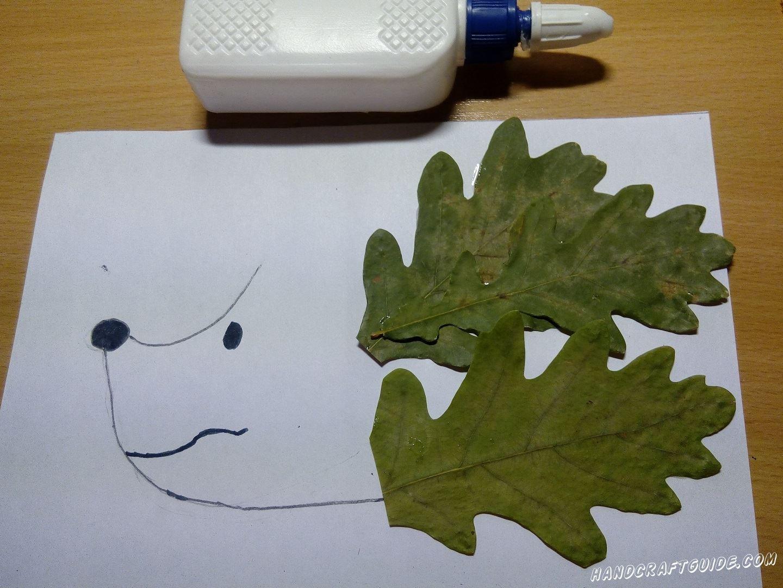аппликация ёжика из осенних листьев