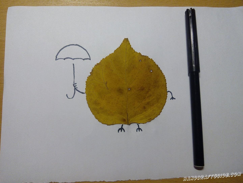 аппликация из одного осеннего листочка