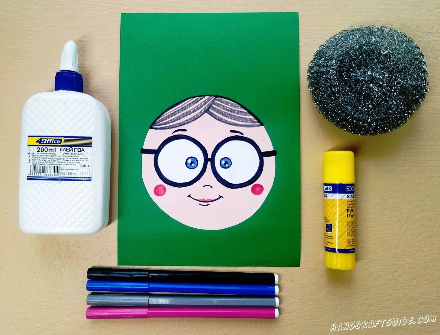 Рисуем личико бабушки фломастерами и карандашиком