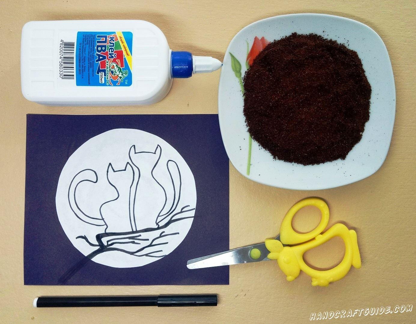 Рисуем наших котят на веточке, с помощью фломастера