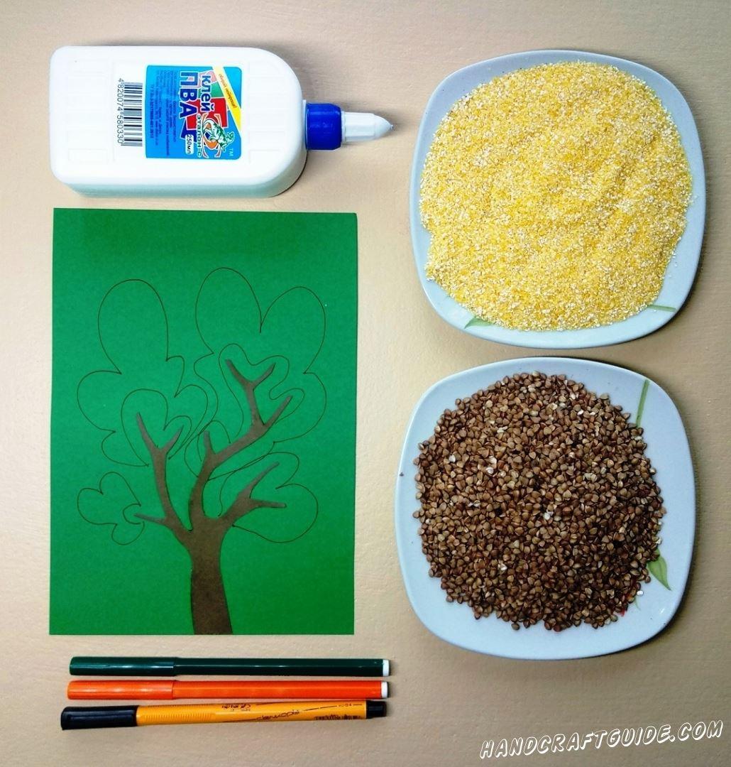 Теперь нам нужно нарисовать лиственную часть дерева, с помощью фломастеров