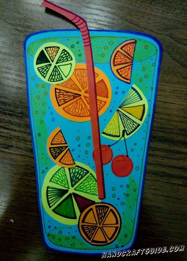 """В конце нам остаётся только разрисовать наши """"фрукты"""", по желанию добавить пузырьки. Ура, Ваш коктейль готов:)"""