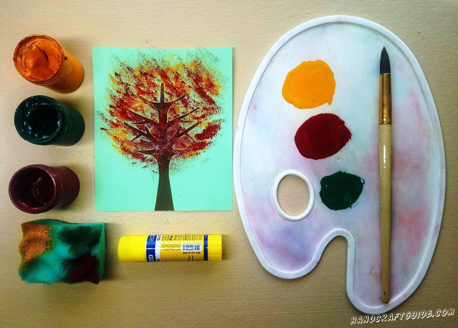 рисуем осенние дерево с детьми