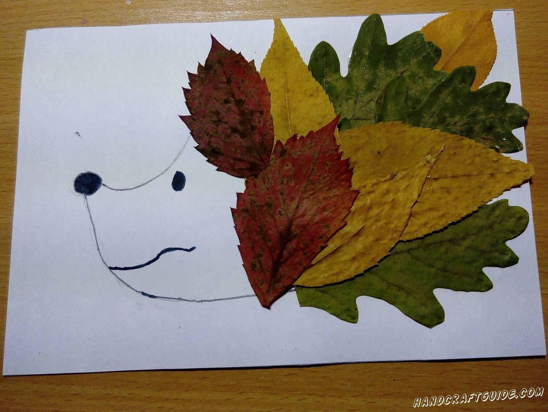 аппликация ёжика из осенних листьев для маленьких