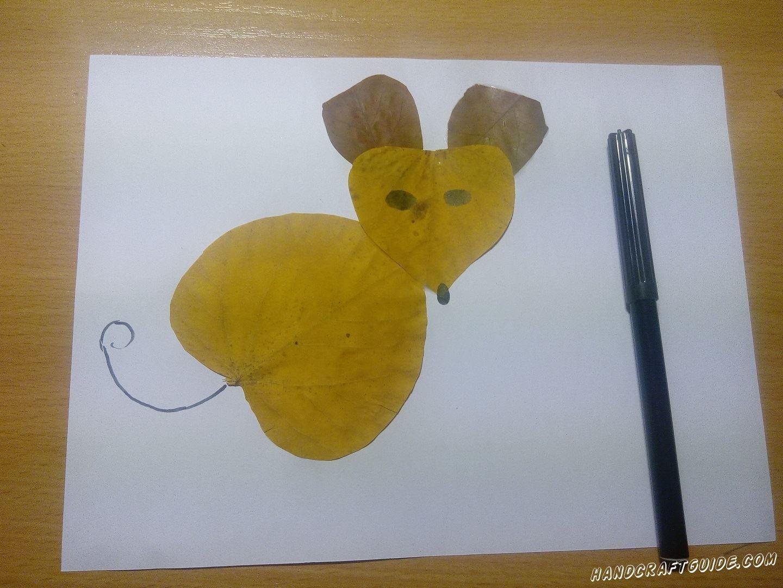 аппликация из осенних листьев для детей мышка