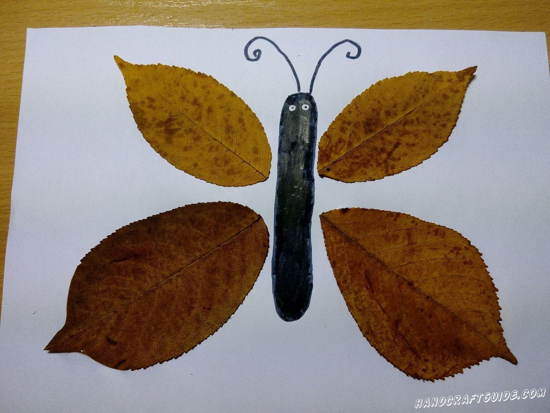 бабочка из осенних листьев легко
