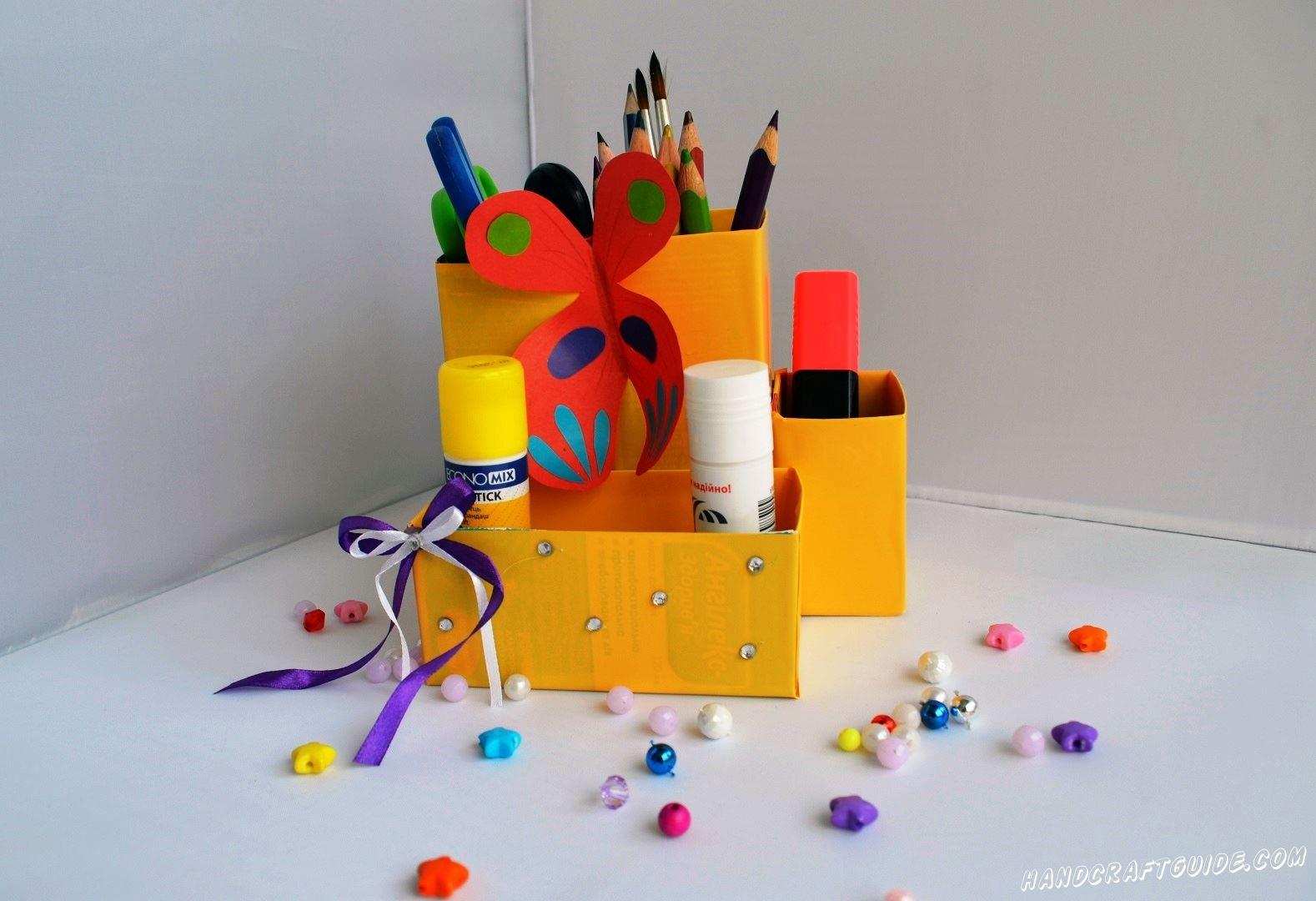подставка для карандашей и ручек на стол сделанная своими руками