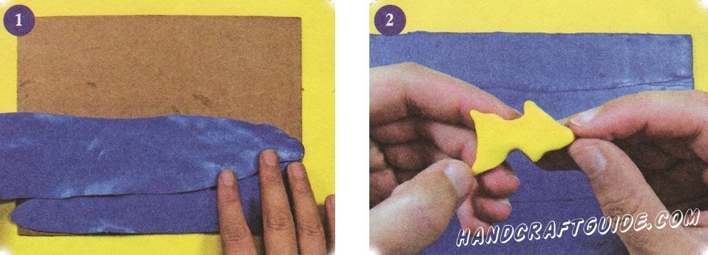 Thinly roll out a few broad bands of blue clay and glue them to the sheet of cardboard or plywood so that, between the stripes were no gaps.