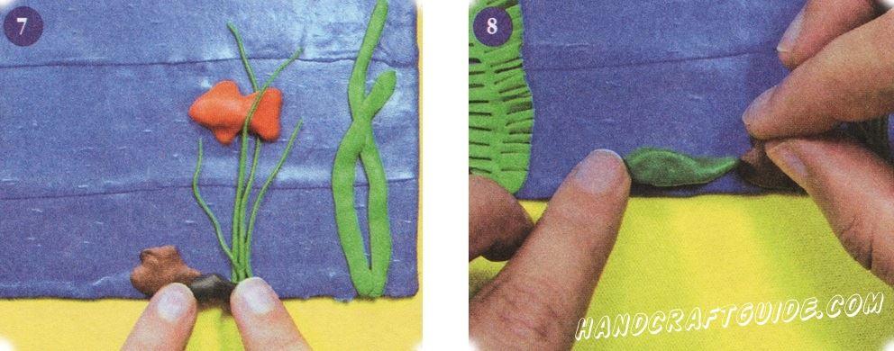 Из черного и коричневого пластилина сделайте камешки разной формы и прикрепите их на нижнем крае картинки. Вылепите тело рака из темно-зеленого пластилина сформировав округлый живот с тонким хвостом. Подсказка! Вы можете сделать много рыбок разных цветов и размеров. Чтобы ваша рыбка блестела - добавьте блестки. Также вы можете сделать несколько аквариумов и украсить ими ванную комнату - это будет оригинально, стильно и ваш ребенок будет счастлив.