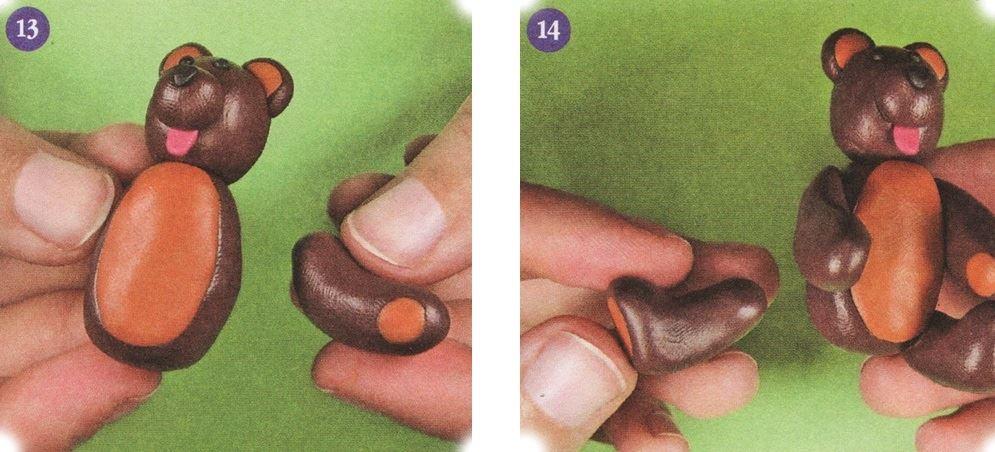 как слепить мишку из пластилина инструкция