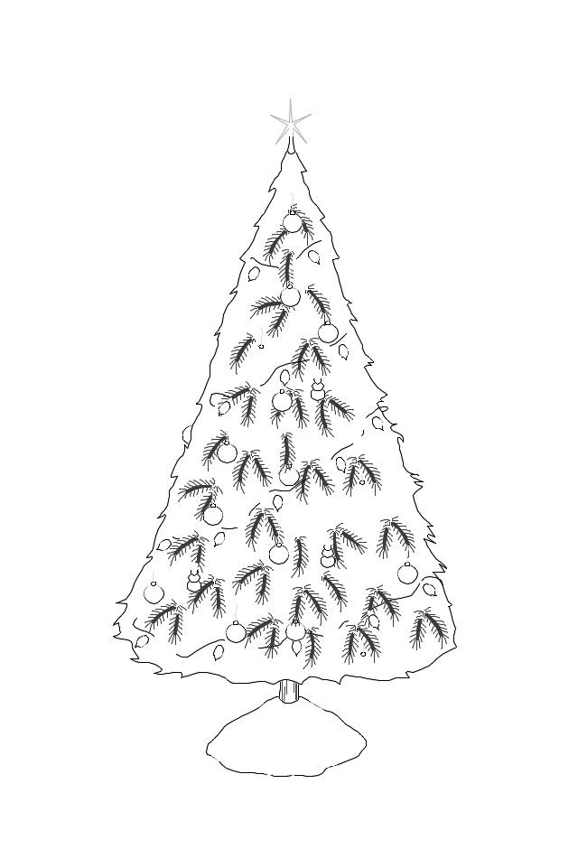 раскраска рождественская елочка
