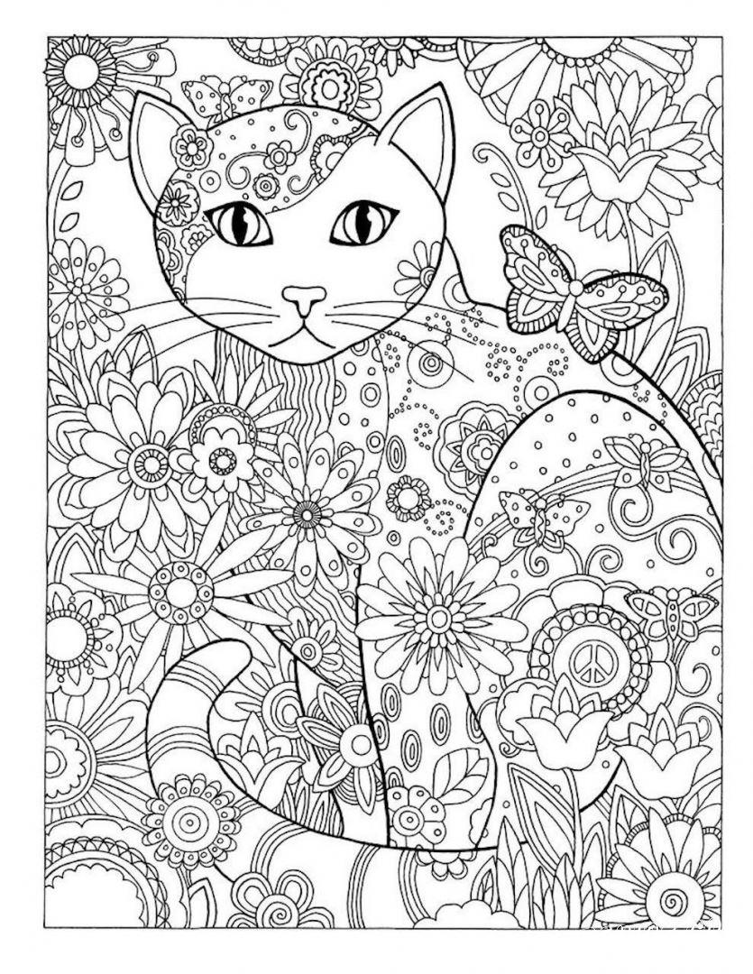 Раскраски антистресс кошка