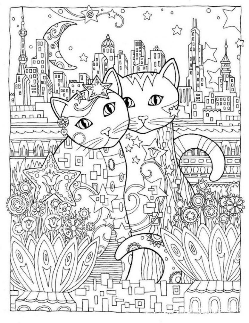 Раскраски антистресс кошки