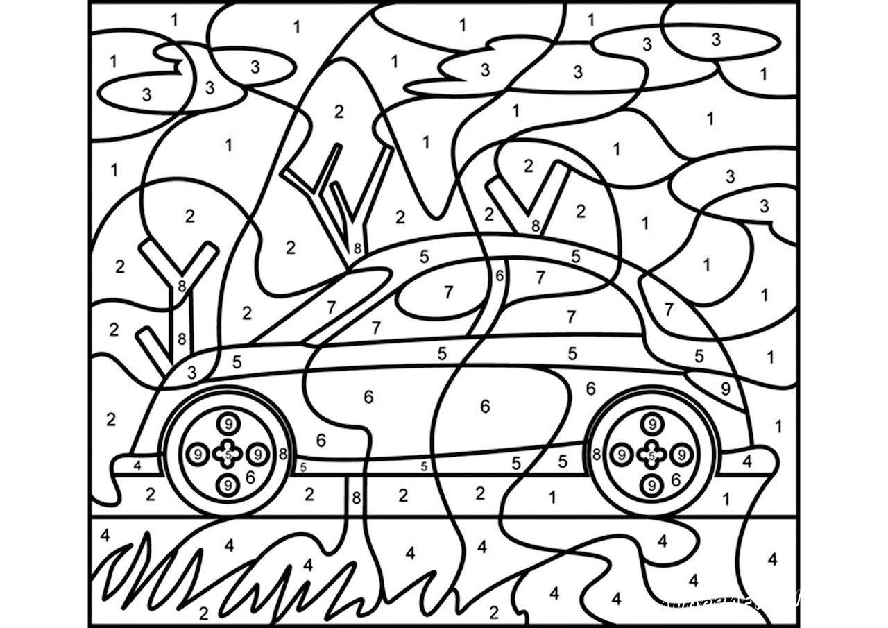 раскраски по номерам машины
