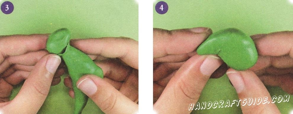 Соедините голову с шеей, тщательно сгладьте края детали. Сделайте две одинаковые ноги с круглыми бедрами и более тонкой голенью.
