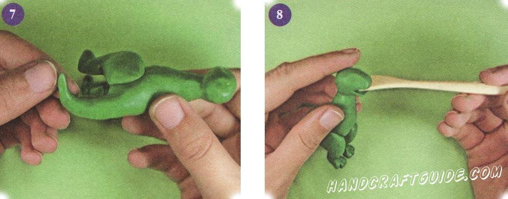 Сделайте хвост, изогнув его так, так чтобы динозавр опирался на него. В передней части головы сделайте рот.