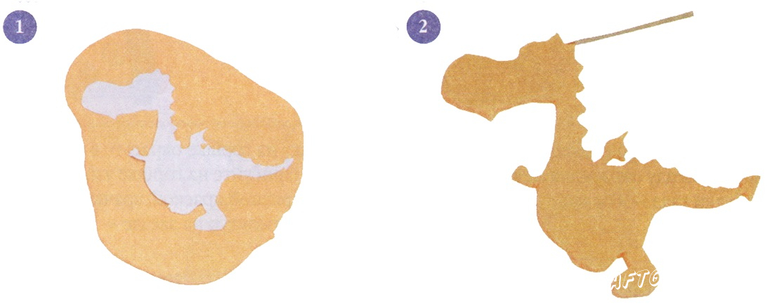 Cut out the paper pattern for dragon. Roll out the dough, apply the template.