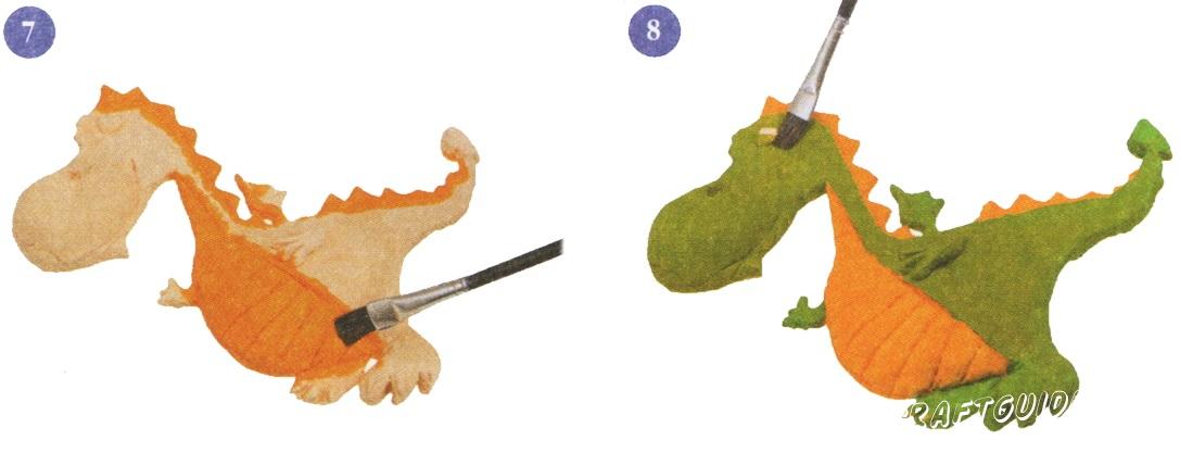 7. Окрасьте живот и гребень дракончика в оранжевый цвет. 8. Остальное туловище дракончика окрасьте в зеленый цвет.