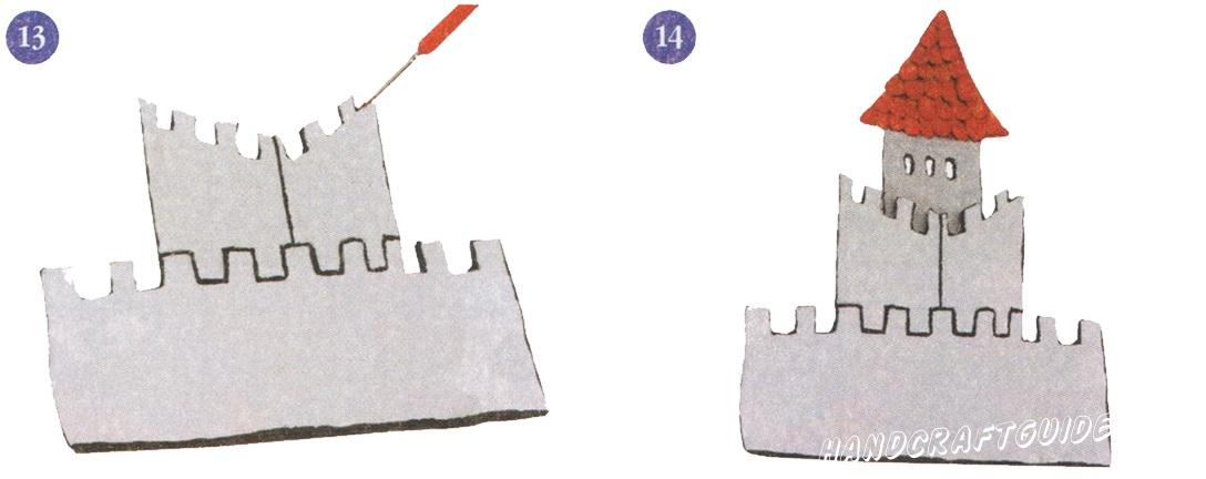 13. Контуры крепостной стены замка окрасьте в черный цвет. 14. Установите башенку за крепостной стеной замка.