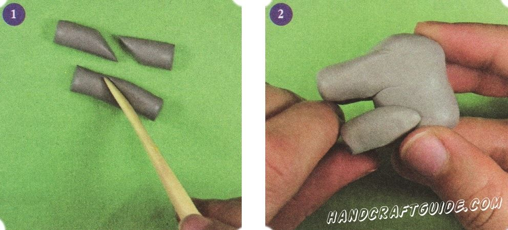 Для начала скрутим 2 колбаски из серого пластилина (можно использовать серую глину), одна из которых немного толще другой. Разрежем их посередине под углом в 45 градусов. Это будут ноги слоника