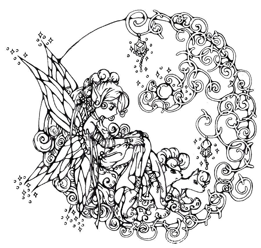 раскраски антистресс фея