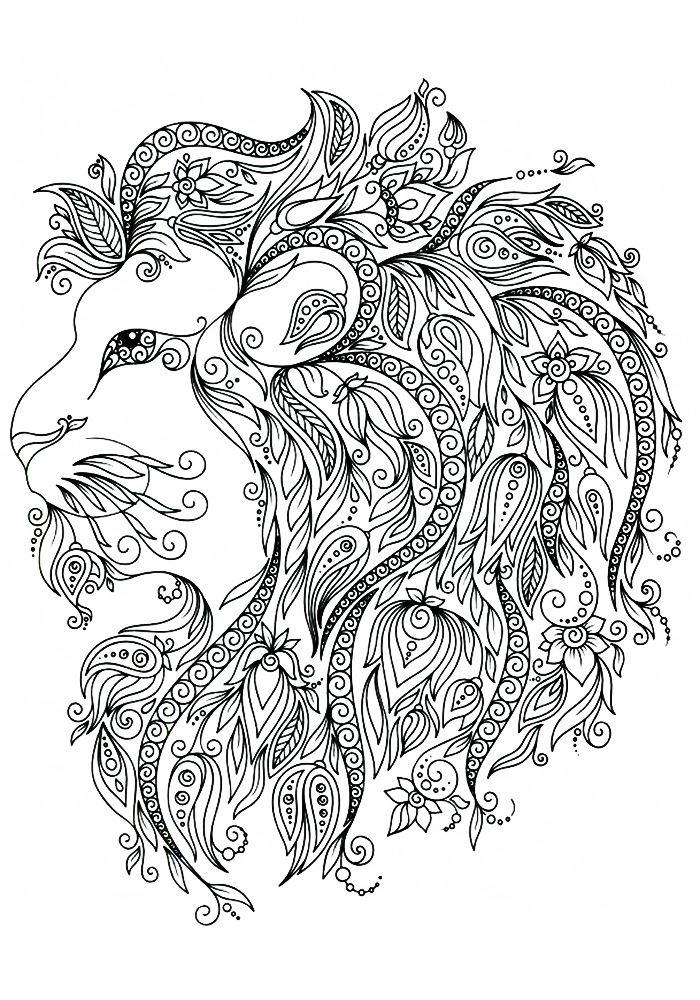 раскраски антистресс лев