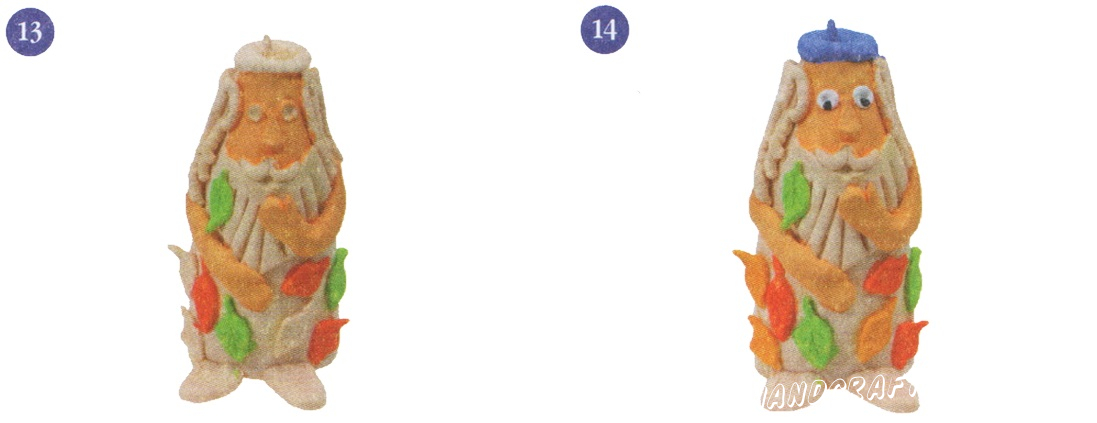 13. Часть листочков окрасьте в зеленый цвет. 14. Берет лесовика окрасьте в синий цвет. Раскрасьте глаза.