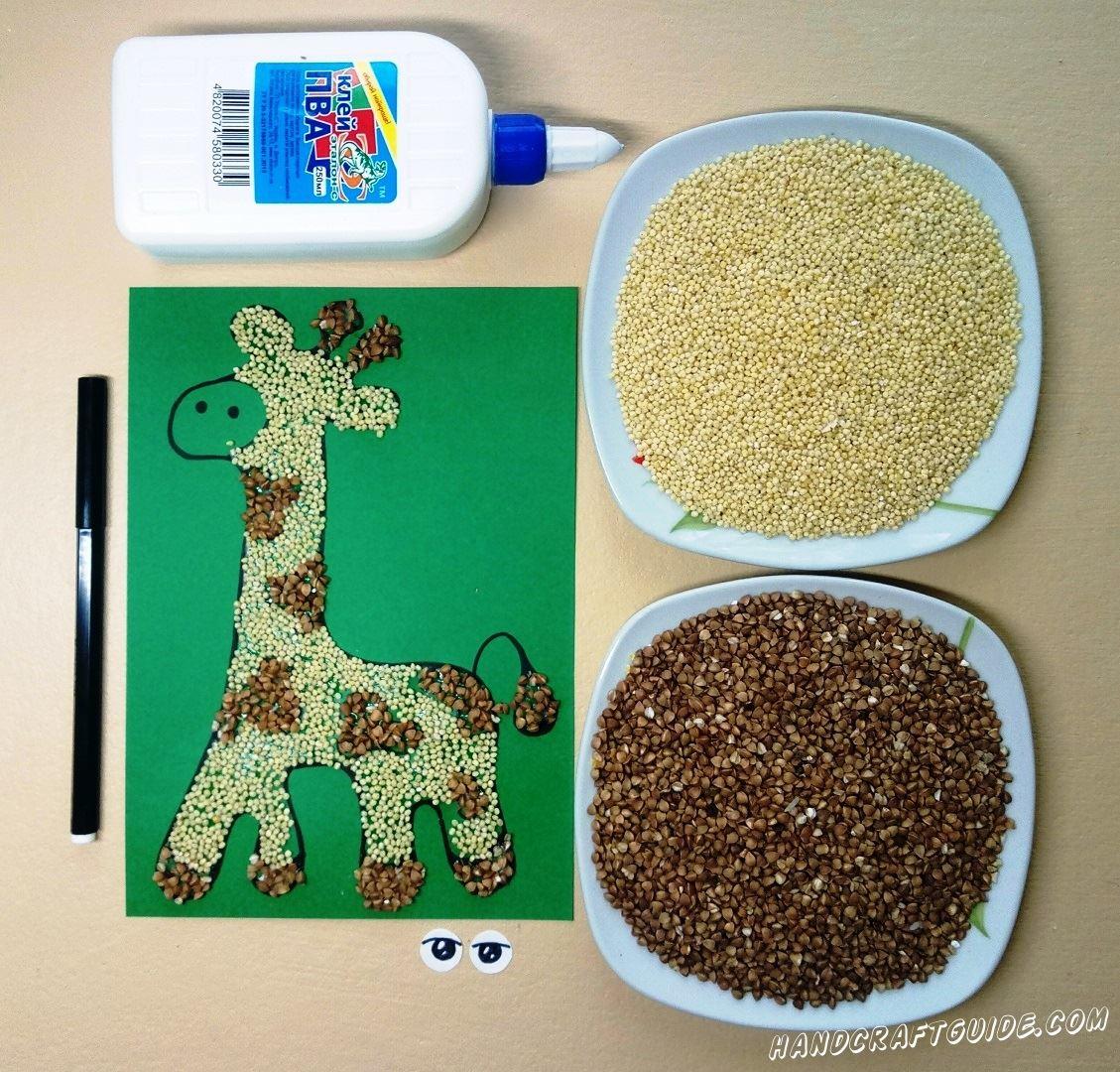 как сделать аппликацию жирафа с детьми