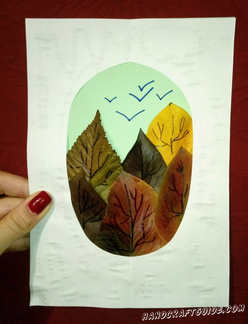 аппликация из осенних листьев для детей 1 класс
