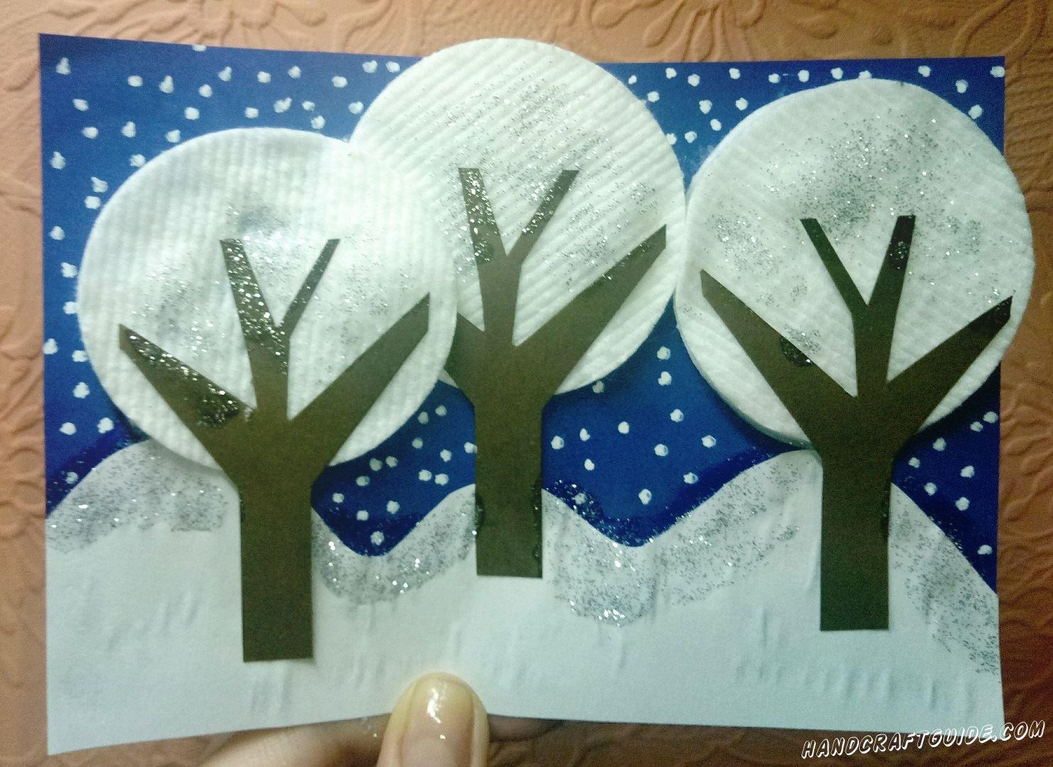 Поделка из ватных дисков лес зима