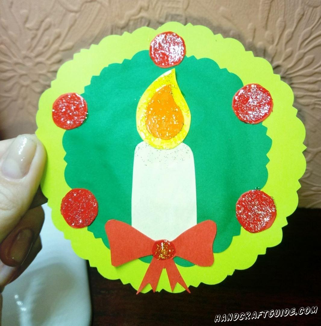 Рождественская бумажная игрушка аппликация своими руками