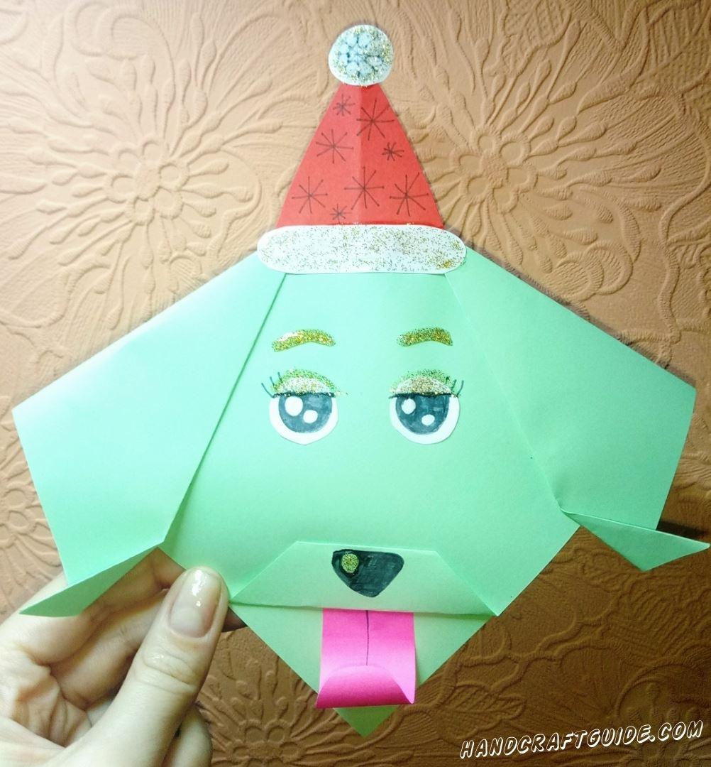 Соединяем технику оригами и аппликации в это крутой собачке из бумаги