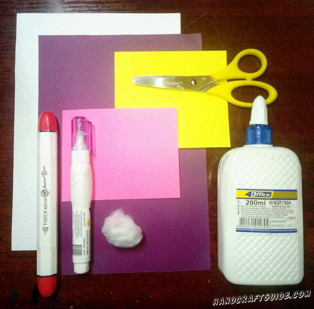 Нам нужно подготовить: Фломастеры Ножницы Клей Белую краску ( или корректор)  Цветную бумагу Вату