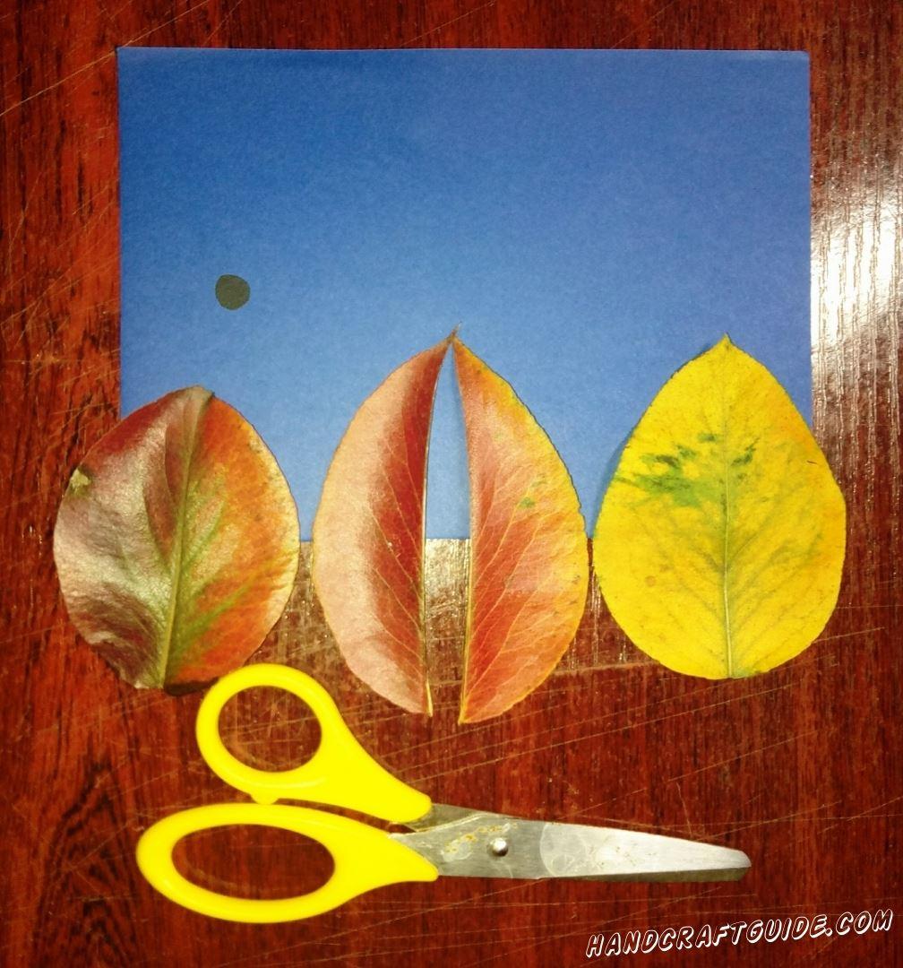 Берем один из осенних листиков и разрезаем его пополам. Также все листикам мы придаем более округлую форму, с помощью ножниц. Теперь вырезаем маленькие чёрный кружочек из бумаги