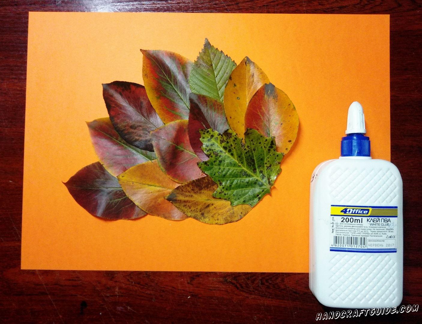 На оранжевый лист бумаги мы приклеиваем листочки с деревьев в спинки с иголочками ёжика, как показано на фото