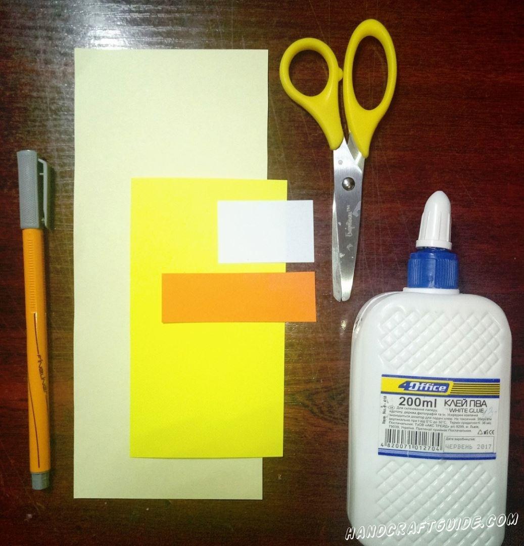 Для данной поделки нам понадобится:  Цветная бумага Ножницы Клей Фломастеры (Карандаши)