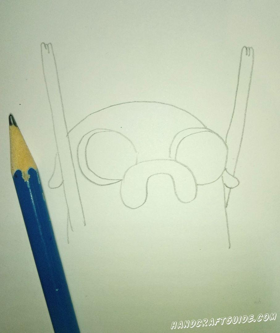 На белом листе бумаги нарисуем контуры Джейка, как показано на фото