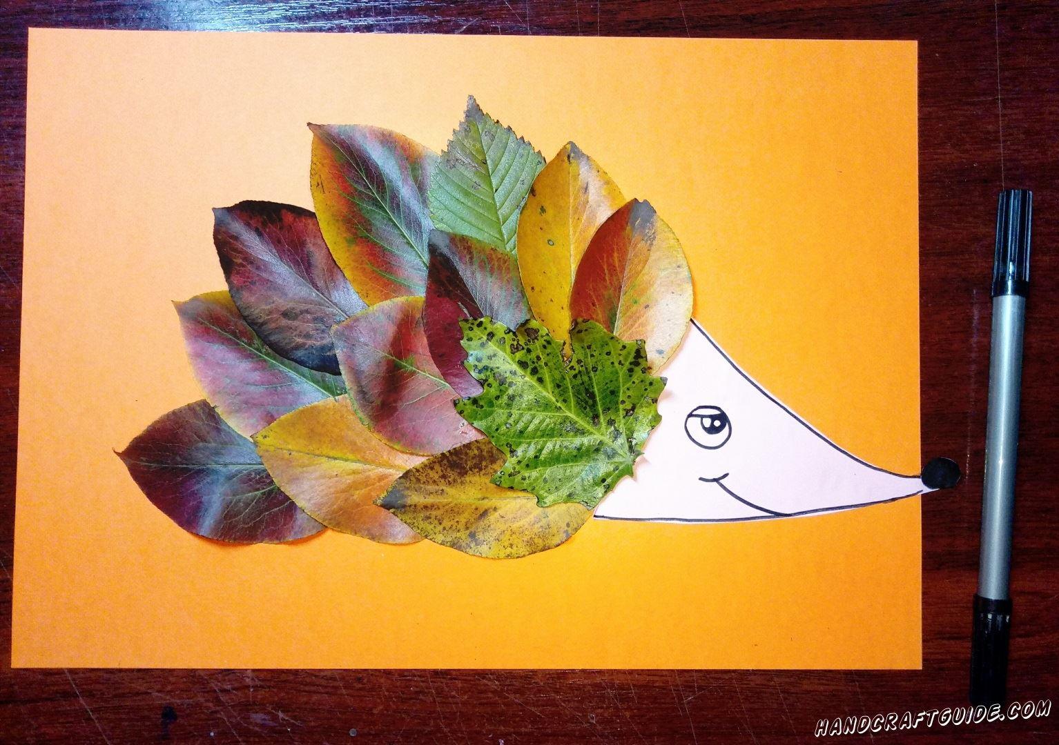 ёжик из листьев для детей поделка