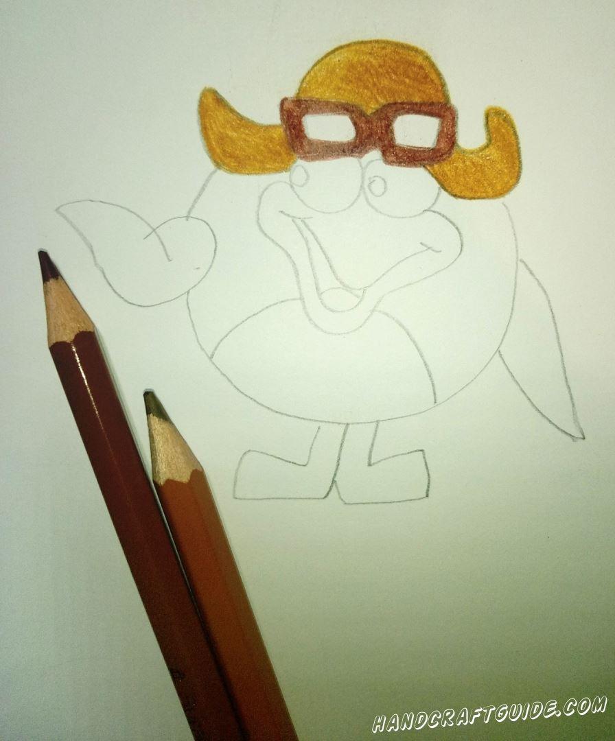 Теперь разрисовываем наш рисуночек, цветными карандашами