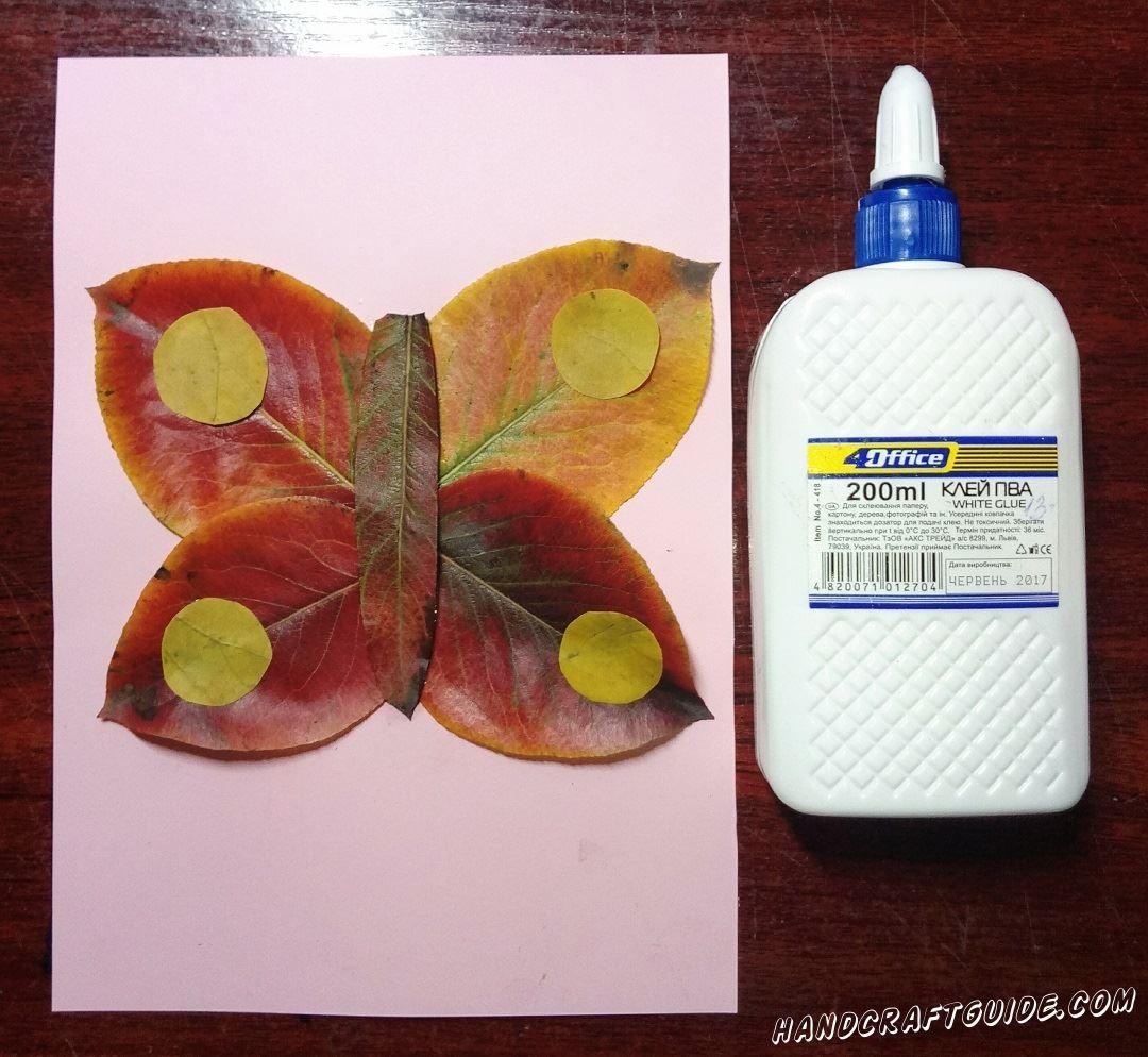 бабочка из осенних листьев очень просто