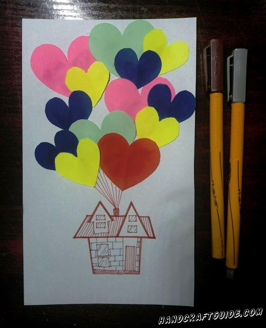 Под сердечками мы рисуем домик, а с дымохода «протягиваем» ниточки к сердечкам