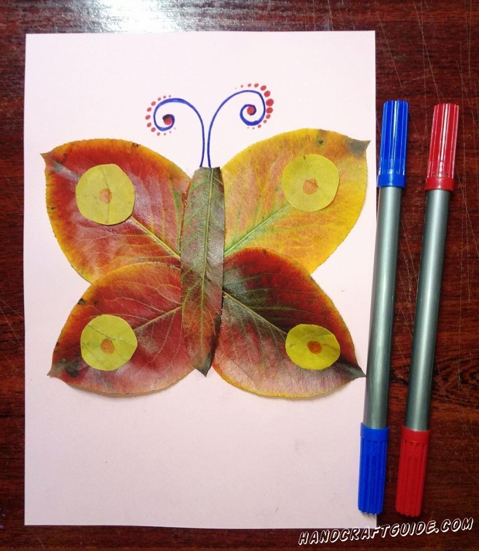 аппликация бабочка из осенних листьев