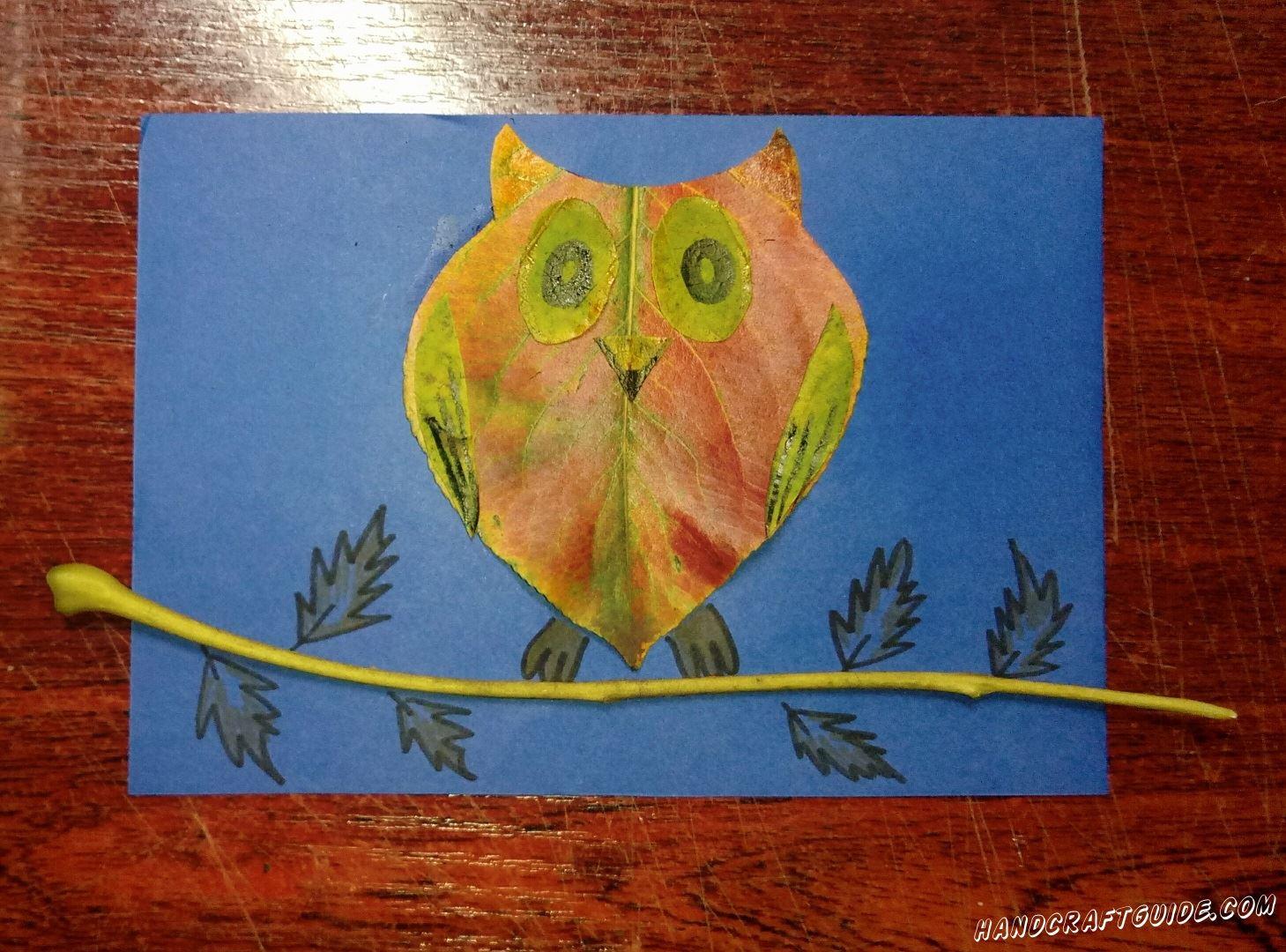 аппликация сова на ветке из осеннего листика
