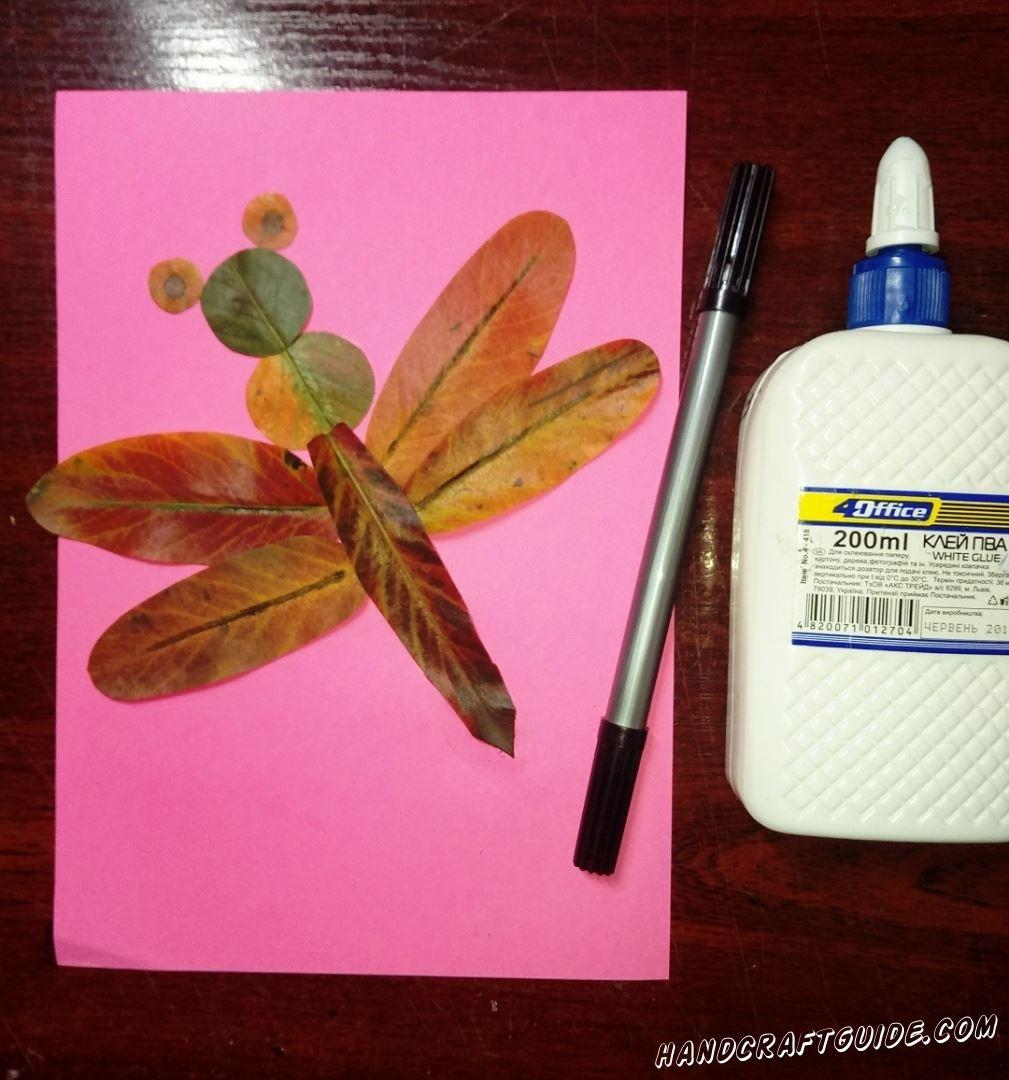 стрекоза из листьев поделка своими руками