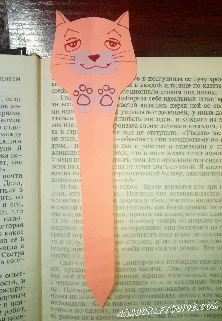 закладка кот из бумаги
