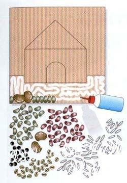 Нанесите клеящее вещество на первую зону. Прикрепите зёрнышки, плотно прижимая их к картону.