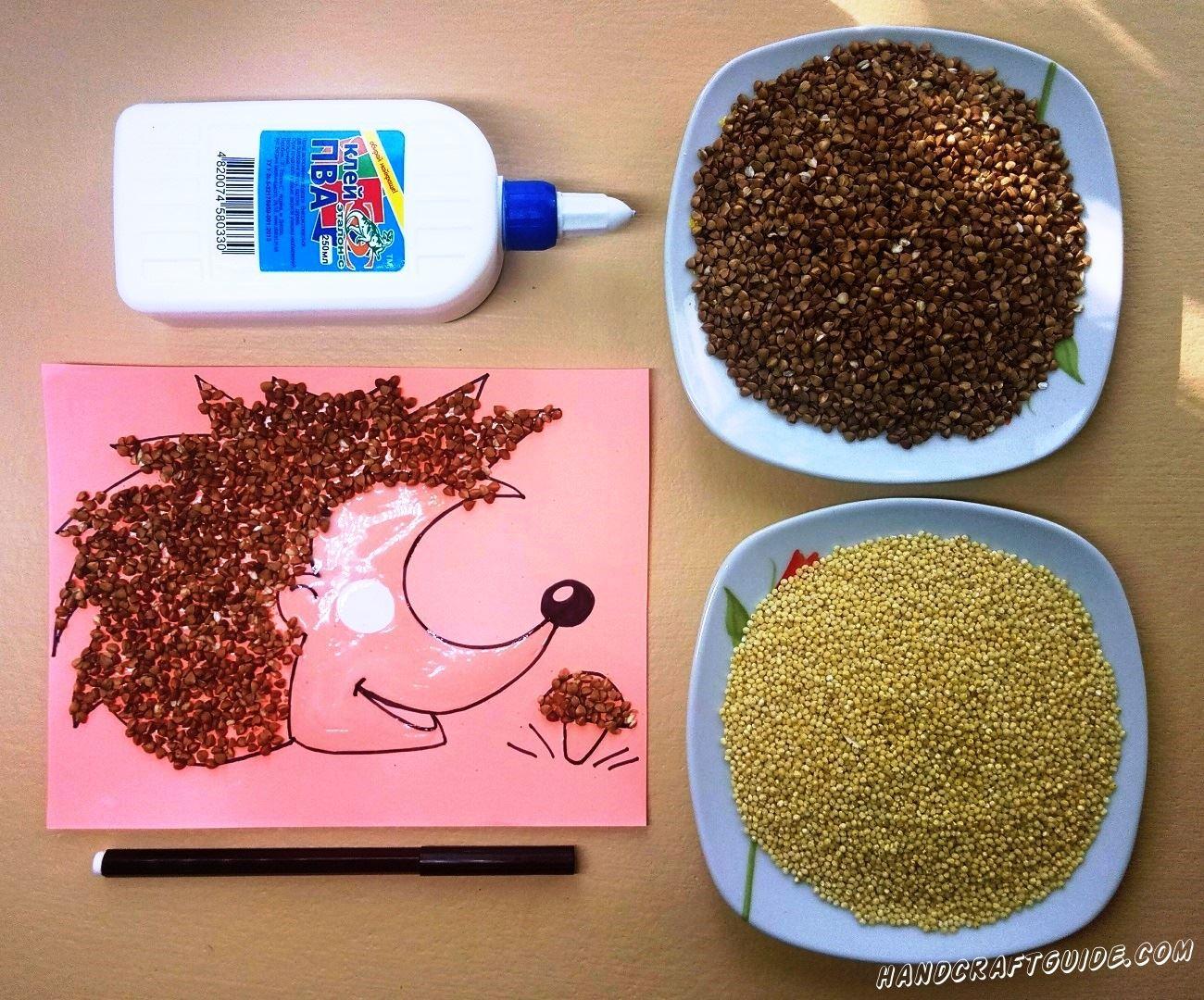 аппликация для детей ёжика и грибочка