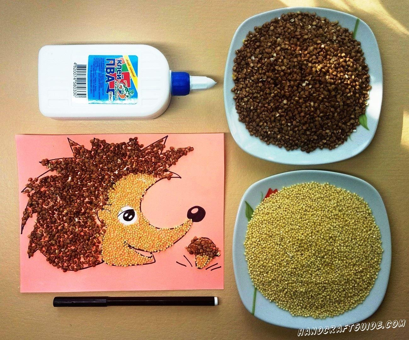 аппликация из пшена и гречки для детей ёжик