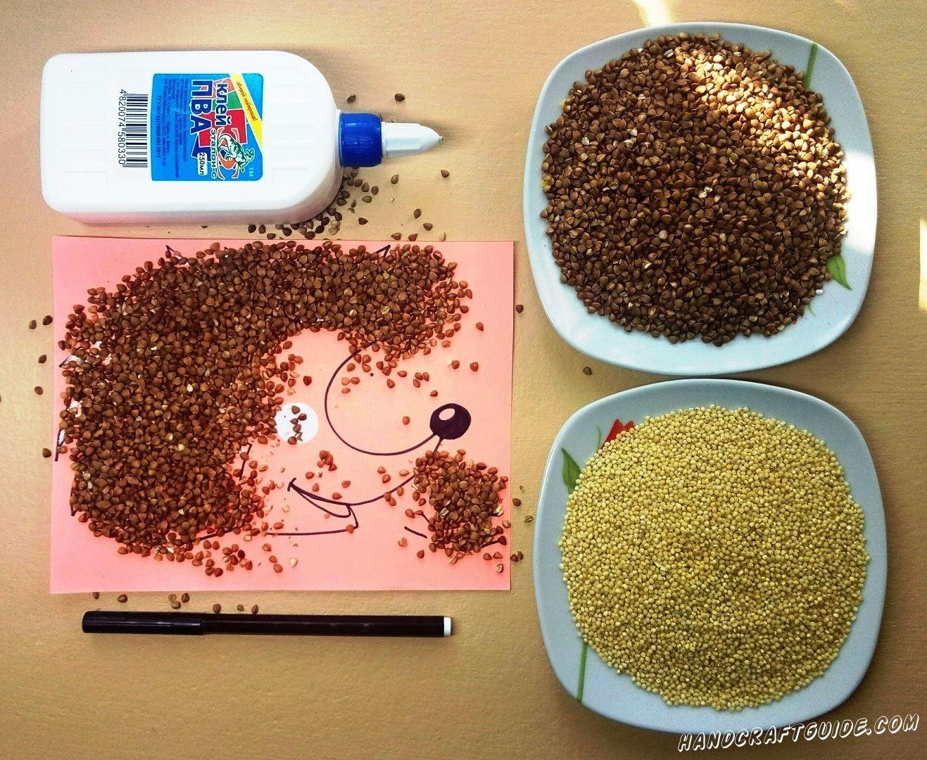 ёжик из гречки и пшенички