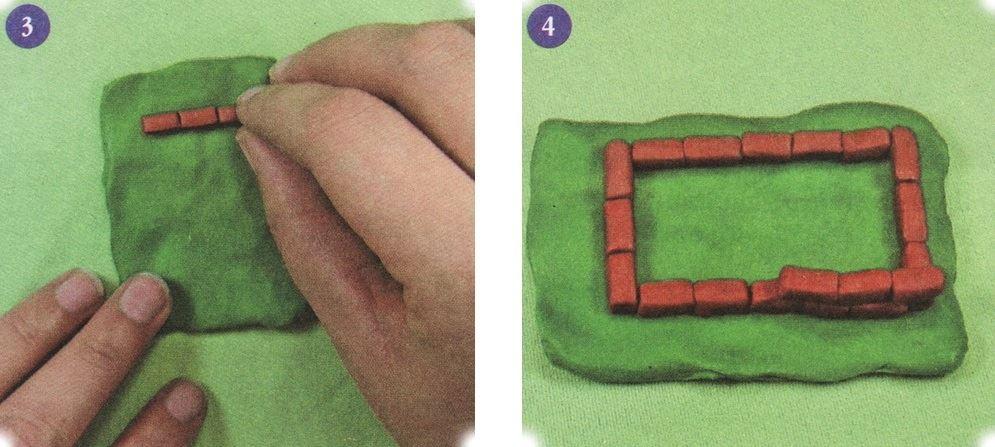 Далее берем пластилин зелёного цвета и раскатываем его в плоскую лужайку. Начинаем строить домик на лужайке